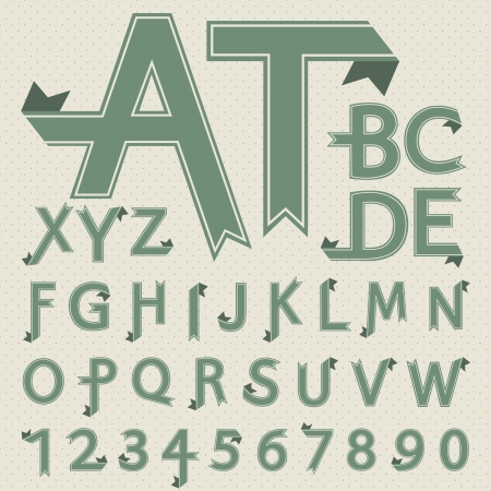 Folded paper letters and numbers in retro style  Font design   Vector