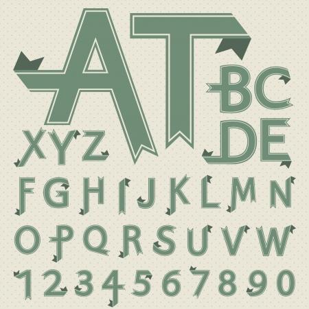 papier pli�: Lettres en papier pli�es et des num�ros dans la conception de style r�tro de la police