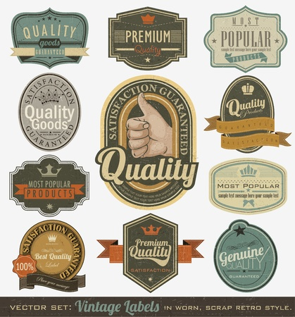 Vintage premium quality and most popular labels  Retro design Illustration