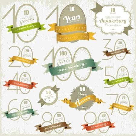 aniversario: Signos de aniversario y de dise�o de dise�o de tarjetas de illulstration Jubileo