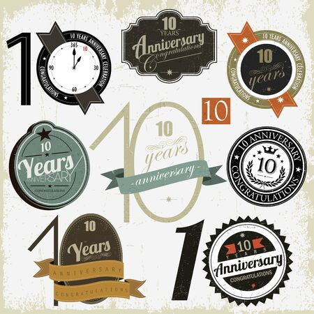 anniversary vector: 10 years anniversary signs and cards vector design Illustration