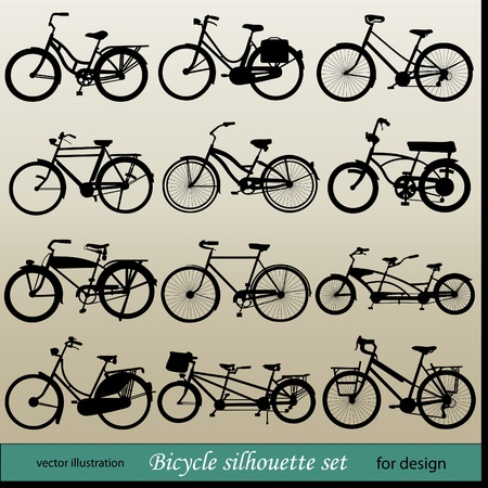 vector bicycle silhouette set Vector