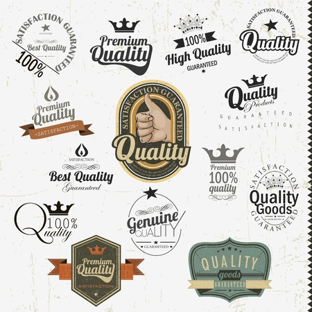 Vintage premium quality labels and inscriptions collection  Retro design Stock Vector - 14203381