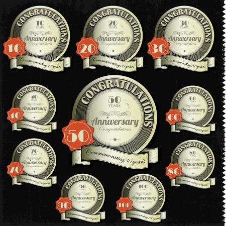 aniversario: Signos de aniversario y vector de tarjetas de dise�o de dise�o del Jubileo