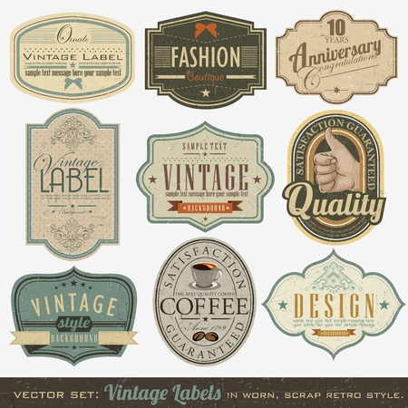 Retro vintage labels collection Vector