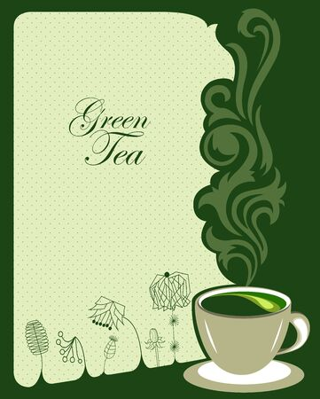 Green tea background design  Vector