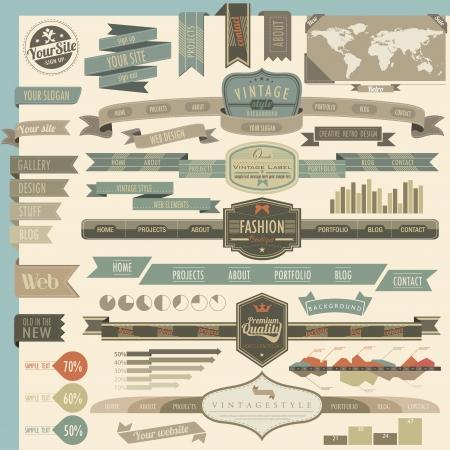 header: Retro vintage style website headers and navigation elements Illustration