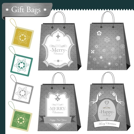 Christmas gift bags and shopping package set  Illustration