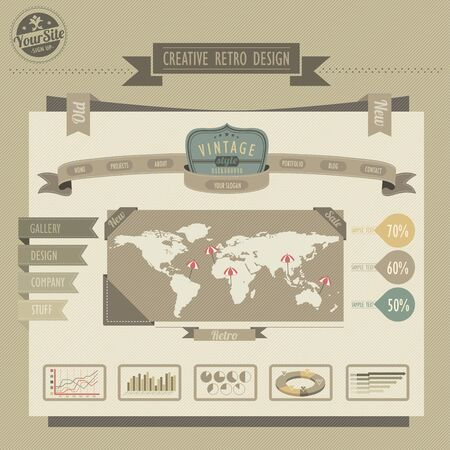 homepage: Retro vintage style website  Illustration