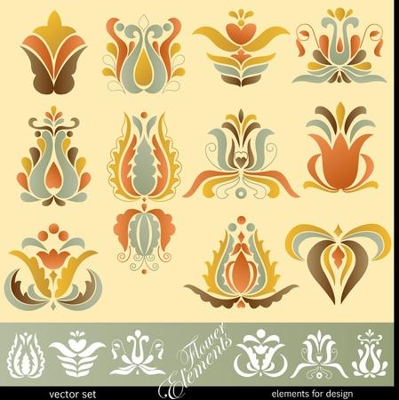 folk culture: Elementos de decoraci�n floral Vectores