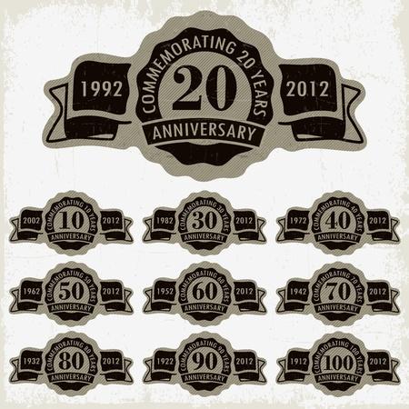 aniversario: Aniversario estilo vintage y tarjetas de aniversario