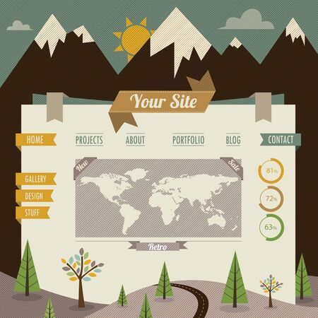 Vintage retro website template Stock Vector - 15820790