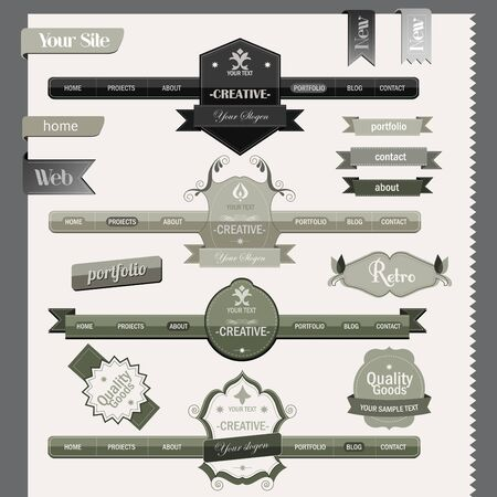Retro vintage style website headers and navigation elements Stock Vector - 15820792