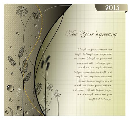 2013 Happy New gray Year greeting card   Vector