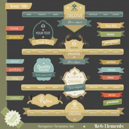 navigation panel: Retro vintage style website elements Illustration