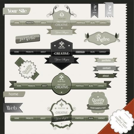 Retro vintage style website elements Illustration