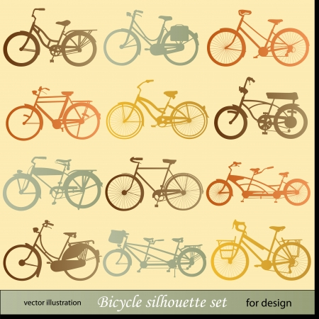 bicycle pedal: bicycle silhouette set