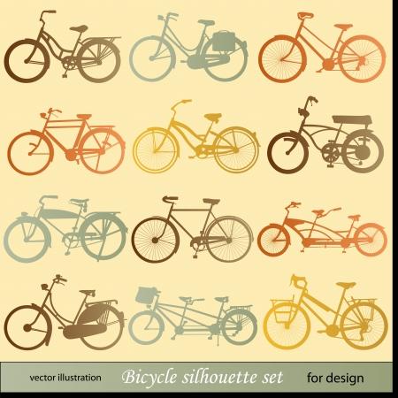 retro bicycle: silueta bicicleta establecer