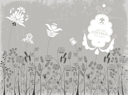 Traditional flowers and herbs background Illustration