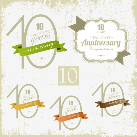 10 years Anniversary other jubilee signs and cards design  Vector