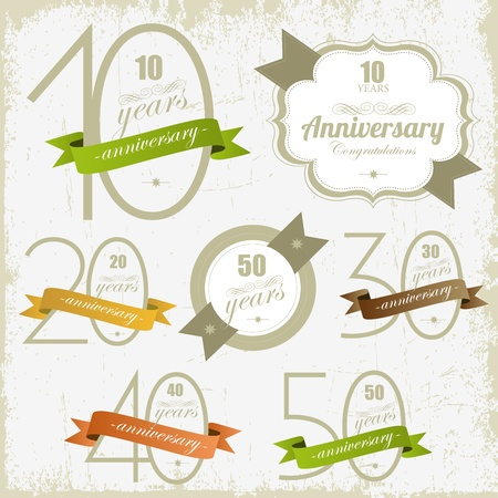 10 years: Anniversary signs and cards illulstration design Jubilee design