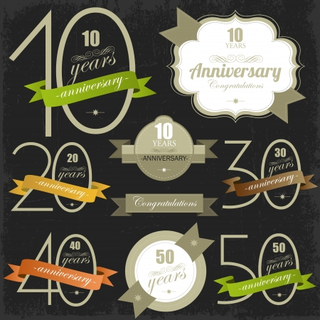 Anniversary signs and cards illulstration design Jubilee design  Illustration