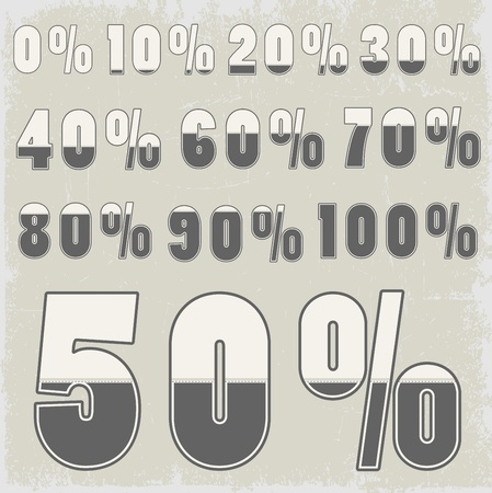 Complete set of percent with creative number design
