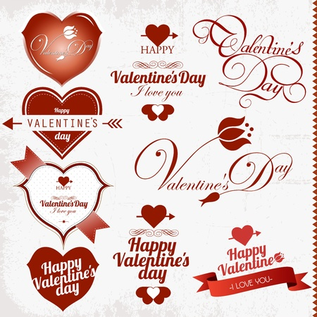 Collection of Valentine s Day stamp Illustration