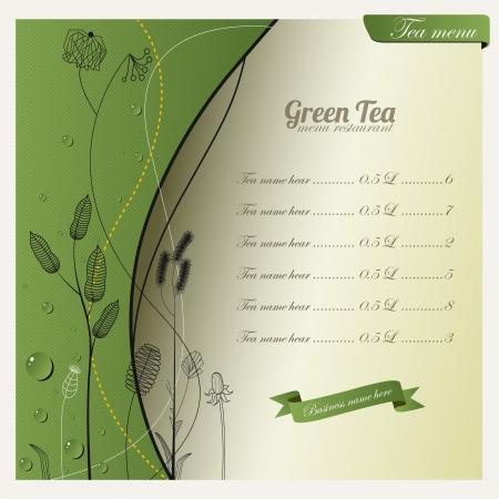 Green tea background and menu design