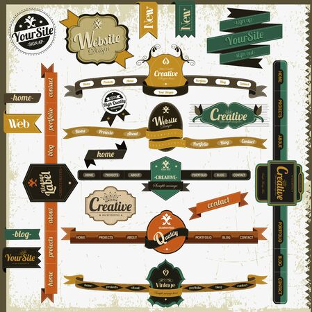 Retro vintage style website elements Stock Vector - 17193114