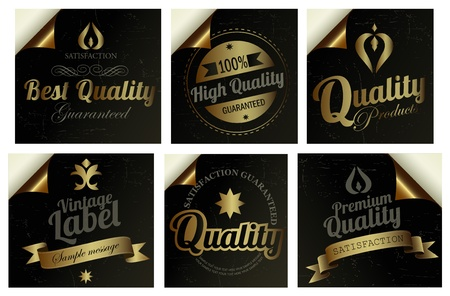 Gold Premium Quality Labels  Stock Vector - 16192619