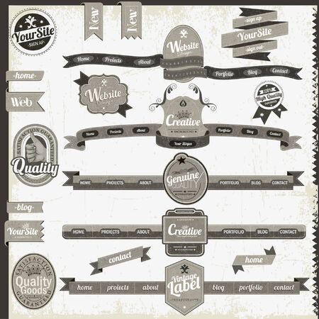 Retro vintage style website headers and navigation elements Stock Vector - 16192618