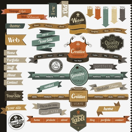 Retro vintage style website headers and navigation elements  Stock Vector - 16465694