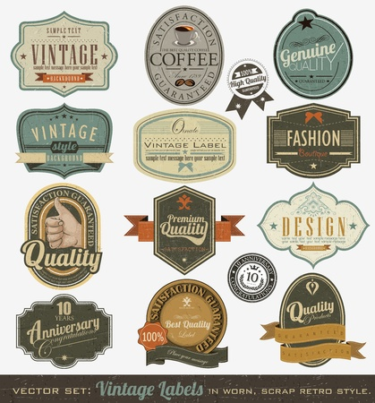 badge ribbon: Vintage premium qualitylabels  Illustration