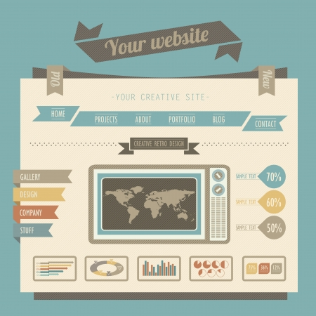 site map: Vintage style website templates Illustration