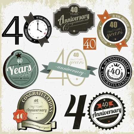 40 years: 40 years Anniversary other jubilee labels, signs and designs collection  Illustration