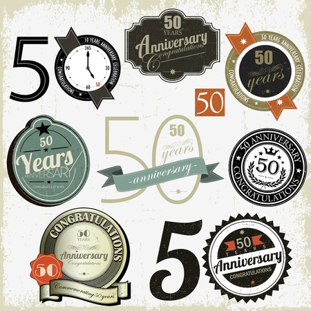 50 years anniversary signs and cards vector design