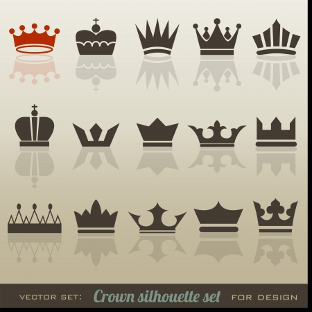 Crown collection and silhouette set Illustration