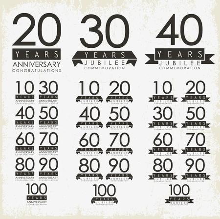 90 years: Segni anniversario e design carte Vettoriali