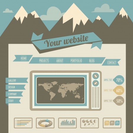 website backgrounds: Vintage retro website template Illustration