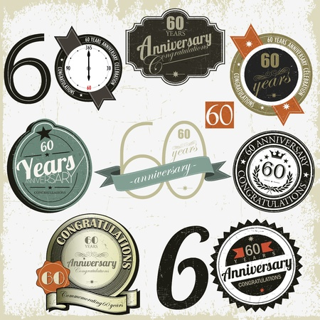sixtieth: 60 years anniversary signs and cards vector design