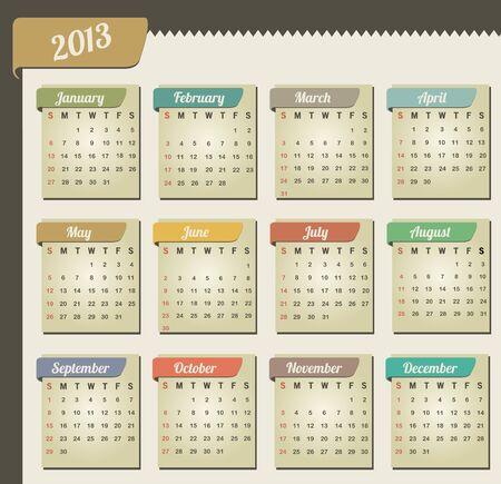 Vintage year 2013 calendar Illustration