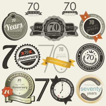 70 years anniversary signs and cards collection Vector