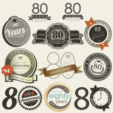 80 years: 80 years anniversary signs and cards collection