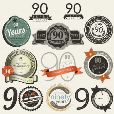 subtitle: 90 years anniversary signs and cards collection Illustration