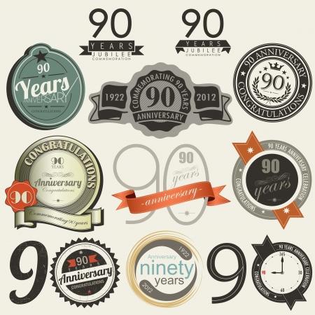 90 years: Segni anniversario 90 anni e la raccolta carte Vettoriali