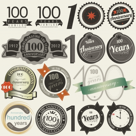 100 years anniversary signs and cards collection Vector