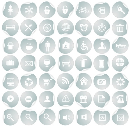 Icon collection with stickers Stock Vector - 18091218