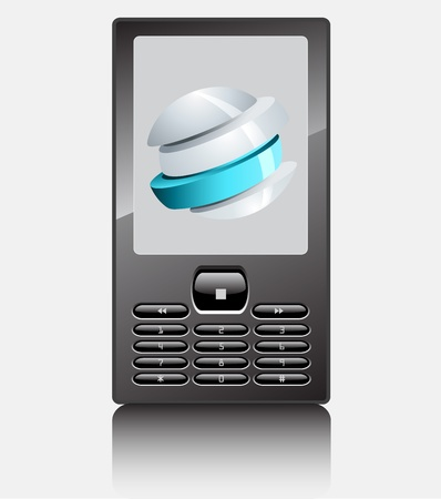 Realistic Mobile phone with world abstract icon