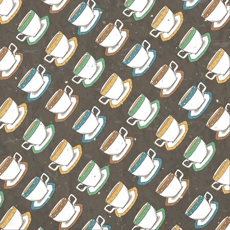 Vector pattern with cup of coffees